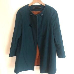 Zara basics teal pea coat